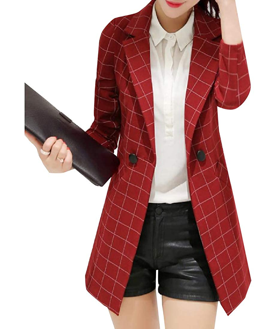 YUNY Womens Formal Slim Casual Check Blazer Jacket with Pockets Wine Red L