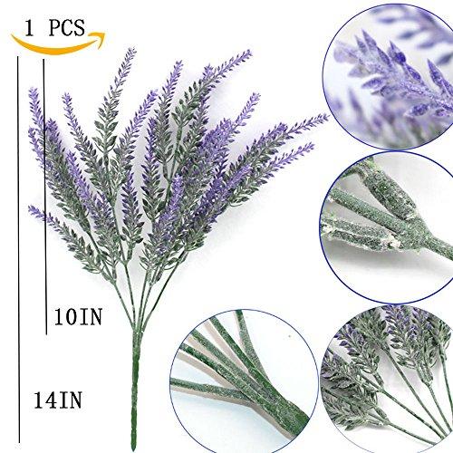 YSBER 5 pcs Artificial Flocked Lavender Bouquet Fake Flowers Bunch Bridal Home DIY Floor Garden Office Wedding Decor-Purple
