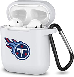 Sunnyhot White Fit Tennessee Titans Protective Shockproof Case Cover Skins with Keychain Compatible with Apple AirPod 2 and 1 (Fit Titans)