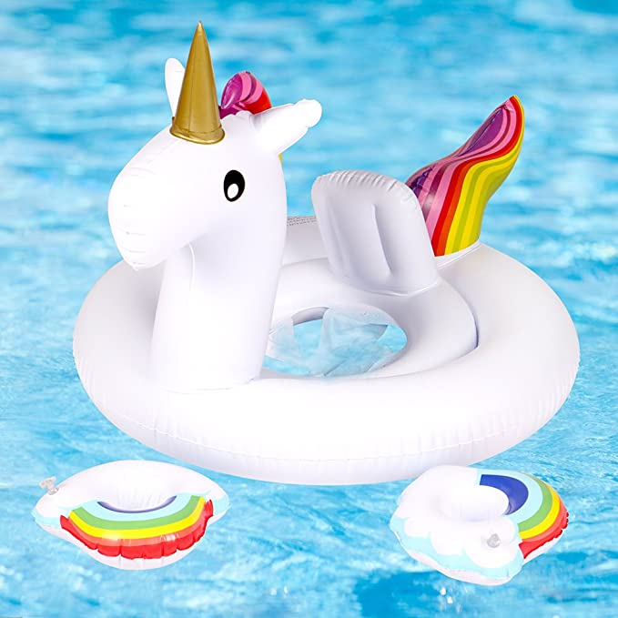 AuRiver Baby Swimming Foat,Unicorn Inflatable Pool Foats for Children Kids Summer Fun Outdoor Water Seat Boat Toys