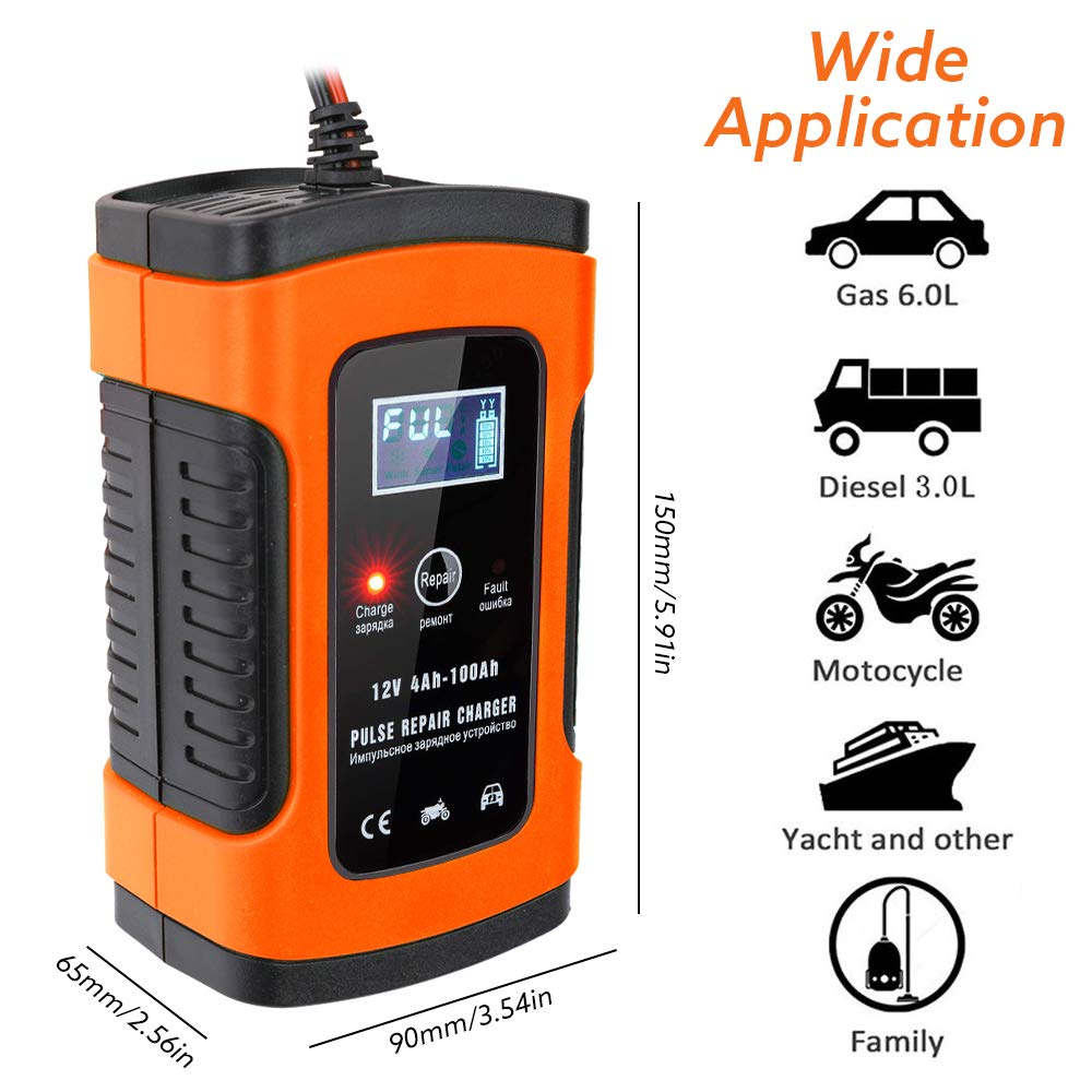Rescue and Recover Batteries Boat and More Battery Charger /& Maintainer 12V 6A Fully Automatic Car Charger with LCD Screen Trounistro Car Battery Charger for Cars UK Plug Motorcycles