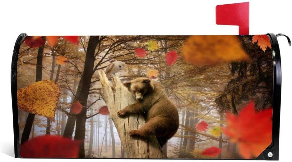 VinMea Animals Mailbox Cover, Bear, Owl, Autumn, Leaves, Leaf Fall, Mushroom, Forest, Magnetic Mailbox Cover Wraps Post Box Yard Garden Decor Standard Sized 25.5x20.8