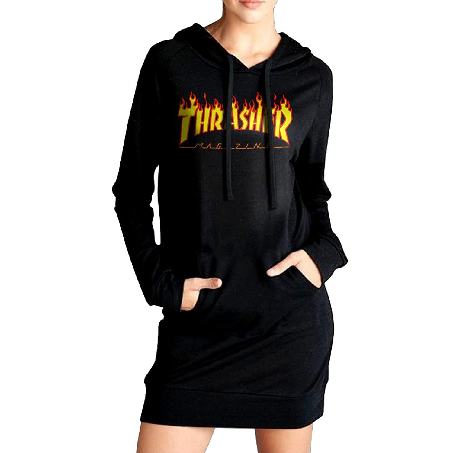 high-quality Ananlin Womens Thrasher Flame Sexy V Neck Long Sleeve Cotton  Hooded Hoodie  daae0d98e