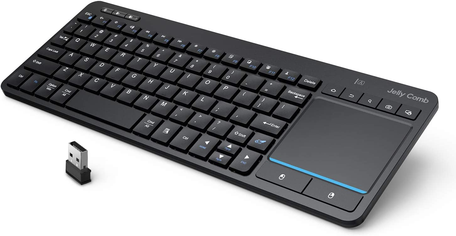 Multi-Device Bluetooth Keyboard with Touchpad - Jelly Comb Wireless TV Keyboard with Multi-Touch Big Size Trackpad, Support 3 Devices for Smart TV, Laptop, Mac, iPad, PC, Android - K071
