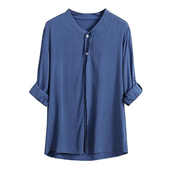 Tefamore Camisas Mujer, Blusa de Manga Larga Mujer Sólido Camiseta de Tops Otoño