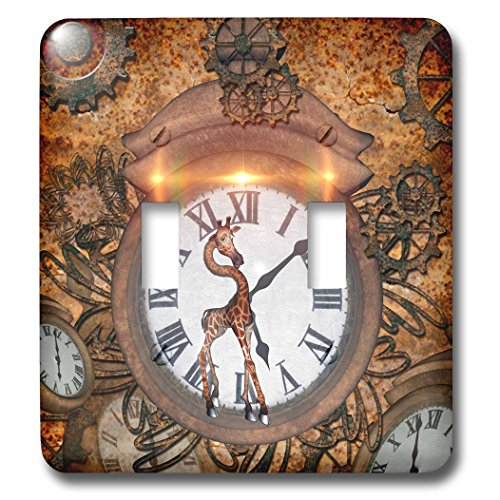 3dRose lsp_243074_2 Steampunk Cute Giraffe with Clocks an...
