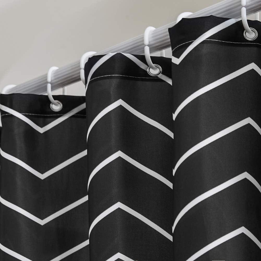 Rideau de Douche Anti Moisissure Tissu en Polyester Imperm/éable Rideaux de Douche Textile Lavable pour Baignoire ou la Salle de Bain 12 Crochets de Rideau Douche Chevron Noir-Extra Long 180x210cm.