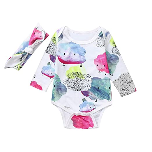 f9657b9ff694 Amazon.com  Lurryly ❤2Pcs Baby Clouds Girls Boys Outfits Clothes Romper+ Headband Kids Jumpsuit 0-18M  Clothing