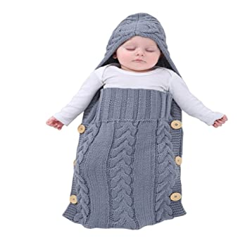Mimixiong Newborn Baby Wrap Swaddle Blanket Knit Sleeping Bag For 0