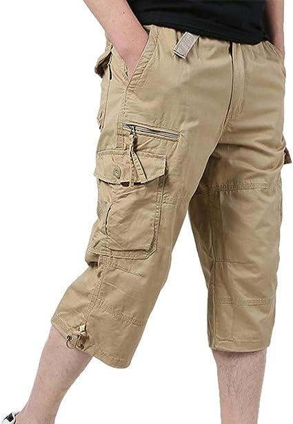 Men/'s Taille Poche Coton Long Ample Pantalon Décontracté Cargo Élastique Nouveau
