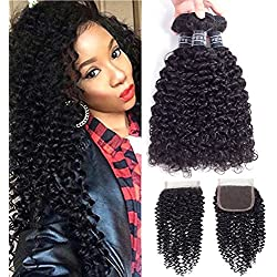 Amella Hair Brazilian Curly Virgin Hair Weave 3 Bundles with 4X4 Lace Closure 8A Brazilian Kinky Curly Hair Weave Bundles Natural Color(12 14 16+10Free Part Closure)