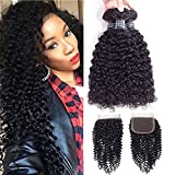 Amella Hair 10A Brazilian Virgin Curly Hair Weave 3 Bundles with Lace Closure Free Part 4x4 100% Unprocessed Brazilian Kinky Curly Hair Weave Bundles Natural Color(16 18 20+14inch)