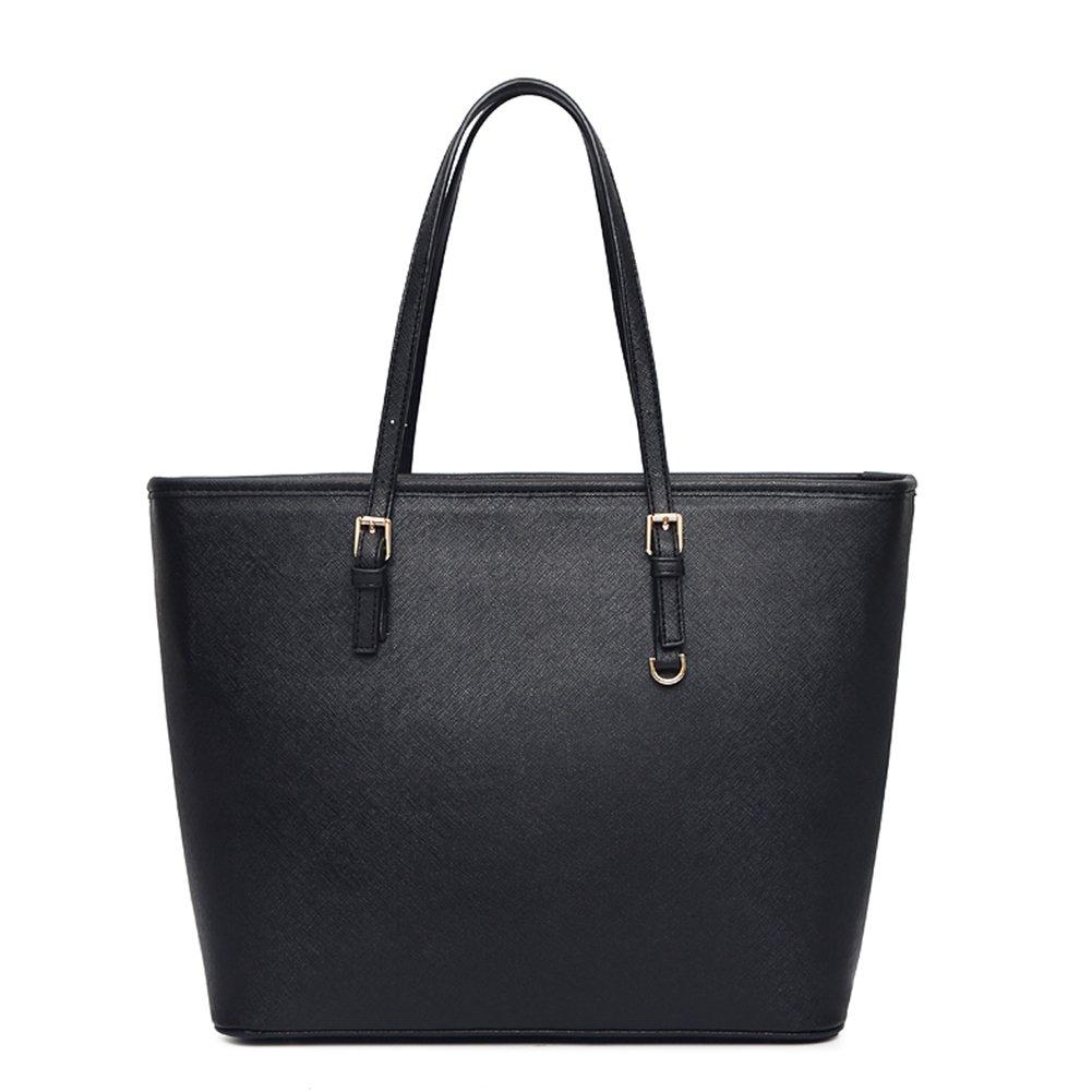 Solarfun PU Leather Tote Bag Top Handle Handbags for Girls Women Designer Satchels Purse Ladies Shoulder Bag Large