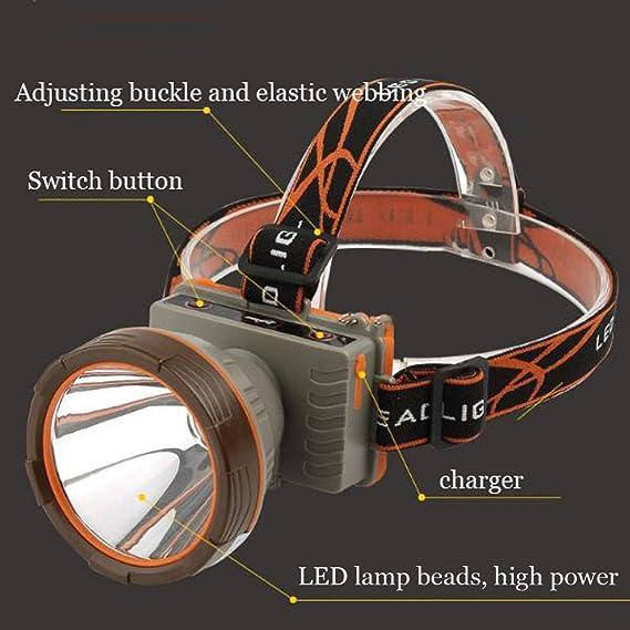 Tao-Miy Faros-T6 Lámpara Perlas Proyector Recargable de largo alcance Exploración a prueba de agua Lámpara de minero Deslumbramiento Montado en la cabeza ...