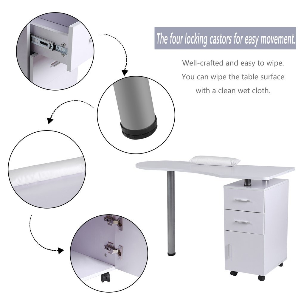 Homgrace Purple Beauty Manicure Nail Table Station Practical Movable Desk Nail Salon Equipment With Wrist Rest Pad 3 Drawers by Homgrace (Image #4)