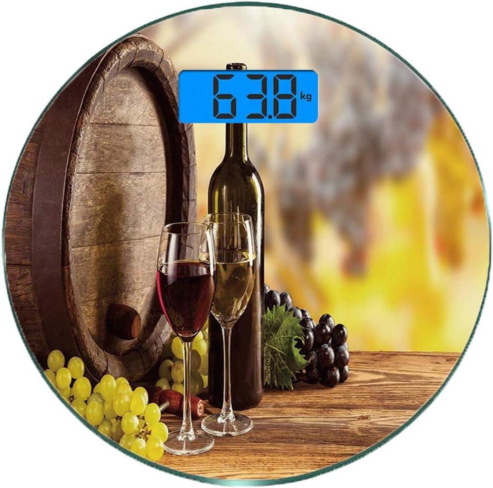 Escala digital de peso corporal de precisión Ronda Vino Báscula de baño de vidrio templado ultra delgado Mediciones de peso precisas,Botella de vino tinto y blanco Cristal sobre barril de madera Calid