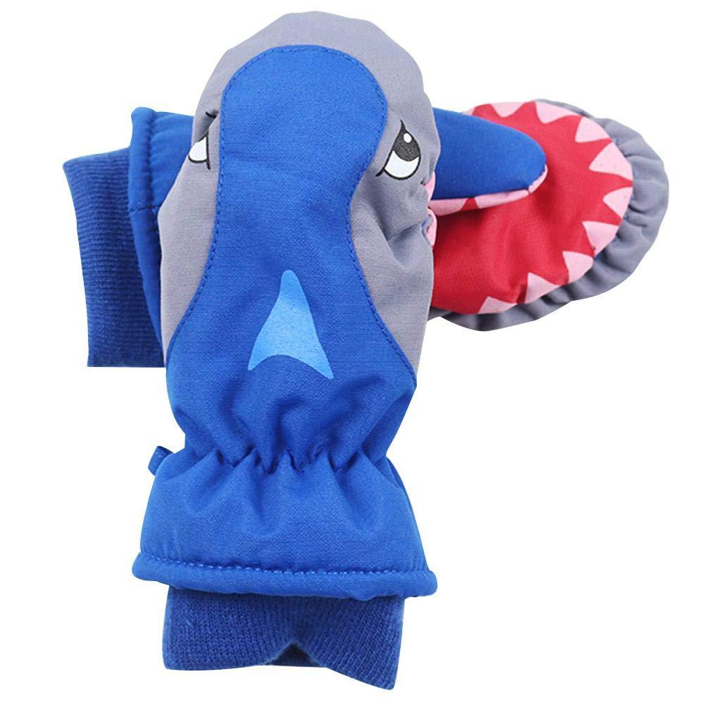 Ablerfly - Guantes de esquí, Color Rojo, Azul, Gris, para niños con Tiburones de Dibujos Animados, Impermeables, Transpirables, para esquí, Snowboard Azul Azul