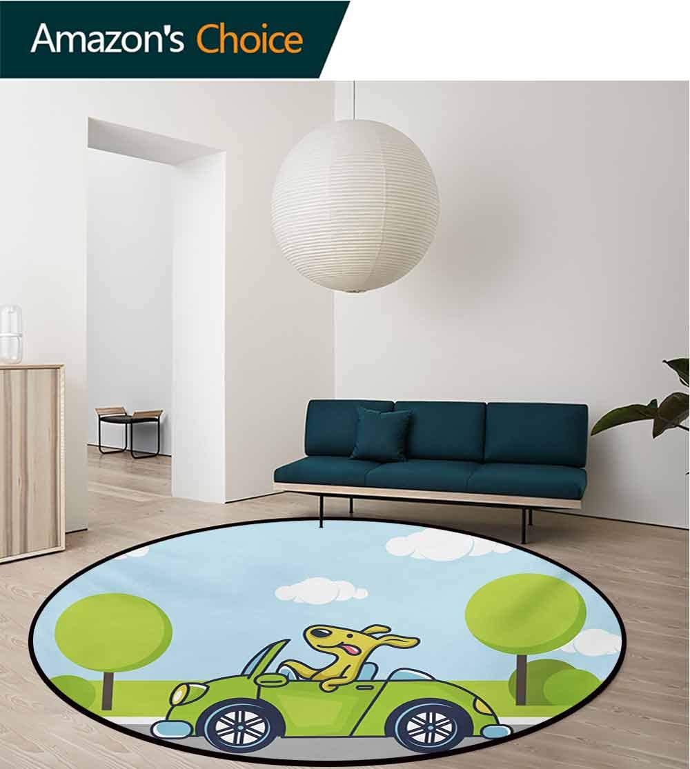 RUGSMAT Dog Driver Print Area Rug,Puppy On The Road Car Jack Russell Journey Terrier Speed Race Cartoon Perfect for Any Room,Floor Carpet,Diameter-71 Inch Baby Blue Lime Green