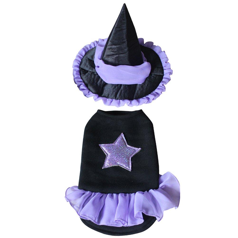 POPETPOP Costume Stregone per Cane da Halloween Vestiti e Cappello Per Piccolo Cani S