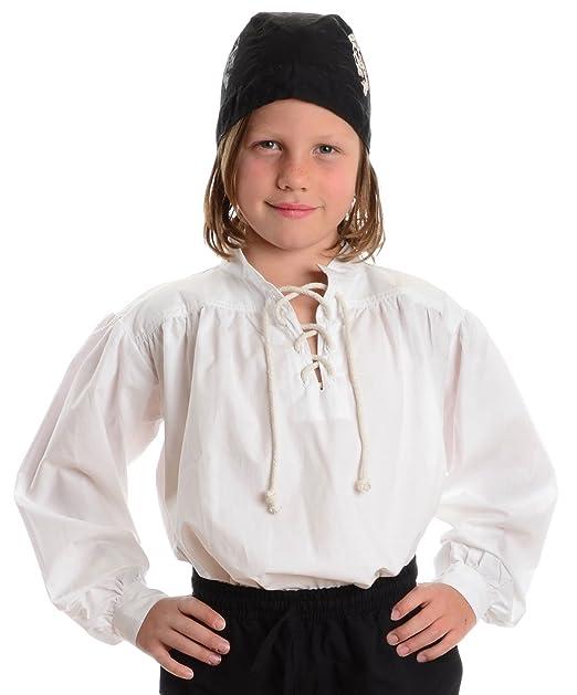 HEMAD Camicia da Pirata per Bambini con Lacci e Colletto Ritto - Bianco  S-XXXL - Camicia Medievale in Cotone  Amazon.it  Abbigliamento f113b88cd0d