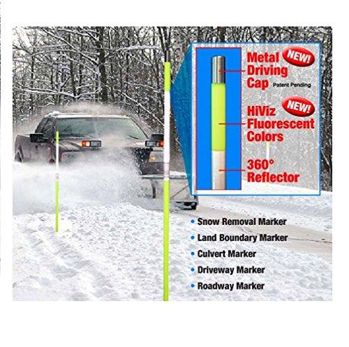 Driveway スノーポール 反射マーカー 48インチ メタルキャップ付き 複数数量 色あり, 48 inch 665 144 オレンジ B015ALZ7AG