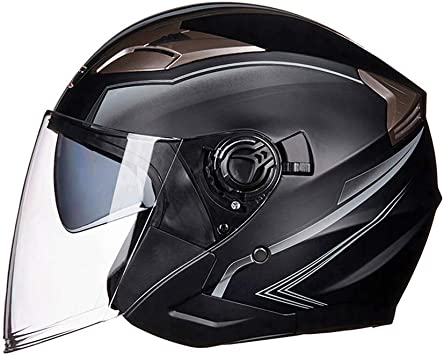 LEENY Cascos Abiertos de Moto con Doble Lente Visera para Adultos Hombres Mujeres, Retro Cascos Jet Half-Helmet Cascos de la Motocicletas Scooters Vehículos Eléctricos Medio Casco, Negro Mate: Amazon.es: Deportes y aire