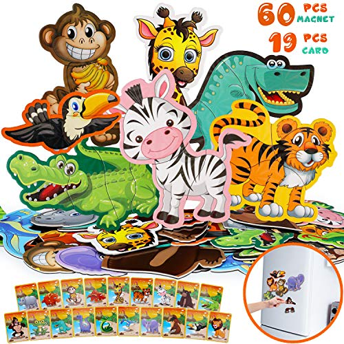 Jeicy Refrigerator Magnets Puzzles for Kids Zoo Animals - 19 Foam Magnets for Toddler Fridge Magnetic Set for Children