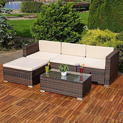 Lounge ecksofa garten  Amazon.de: 5tlg. Garten Ecksofa Lounge mit Tisch + Polster in ...