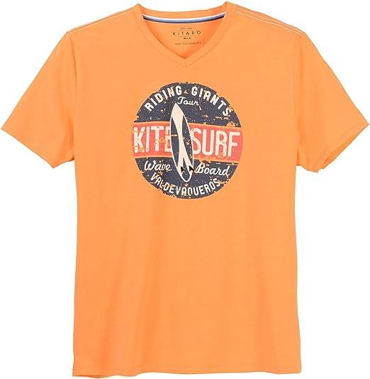 Kitaro XXL Camiseta Cuello en V Naranja mélange Surf Print, 2xl-8xl:7XL: Amazon.es: Ropa y accesorios