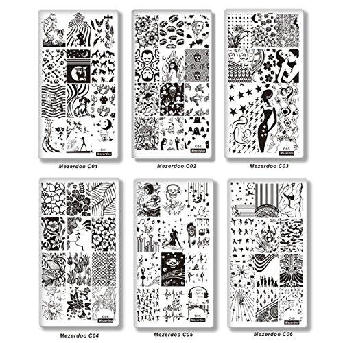 Mezerdoo 10Pcs/lot Creative Design Nail Stamping Plates Template Mermaid Girl Image Stamping Plate -