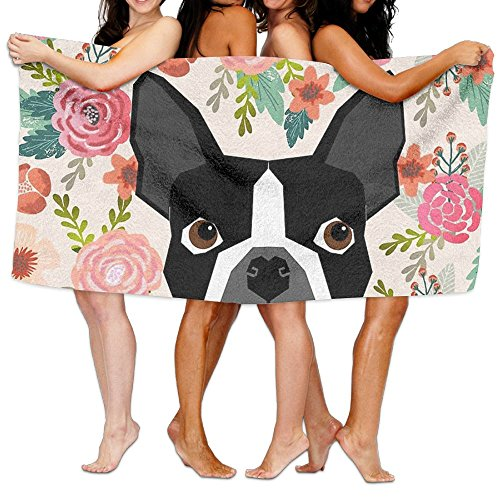 Buy now YINGGAIH Soft Spa Bath Towels Boston Terrier Florals