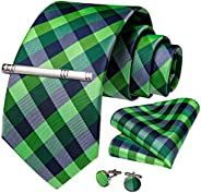 DiBanGu Mens Formal Plaid Striped Necktie and Tie Clip Set Silk Ties Pocket Square Cufflinks Business