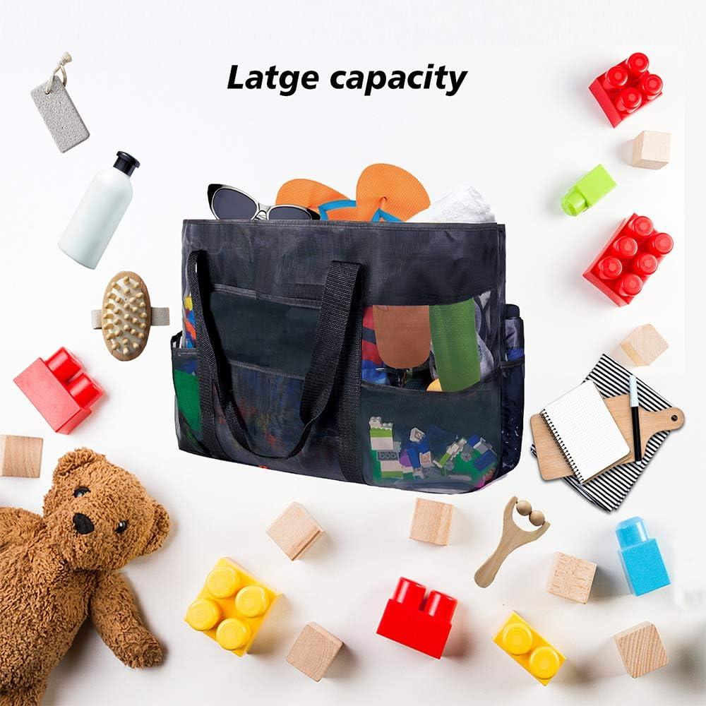 Folding Shoulder Bag Folding Outdoor Activities Organizer Net Bag Wisdom1674 Multi-Functional Sand Toys Storage Bag Large Mesh Beach Tote Bag Family Beach Holiday Organizer Net Bag for Holiday