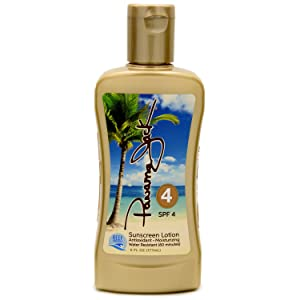 Panama Jack Sunscreen Tanning Lotion - SPF 4, Reef-Friendly, PABA, Paraben, Gluten & Cruelty Free, Antioxidant Moisturizing Formula, Water Resistant (80 Minutes), 6 FL OZ (Pack of 1)
