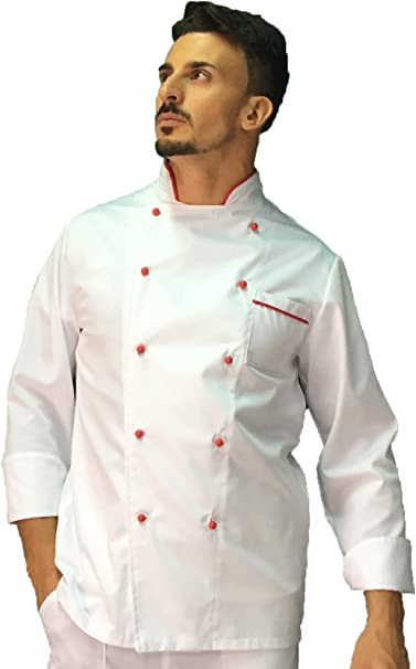 Giacca Cuoco tessile astorino Ricamo Gratuito Casacca Chef Donna Nera e Blu Made in Italy