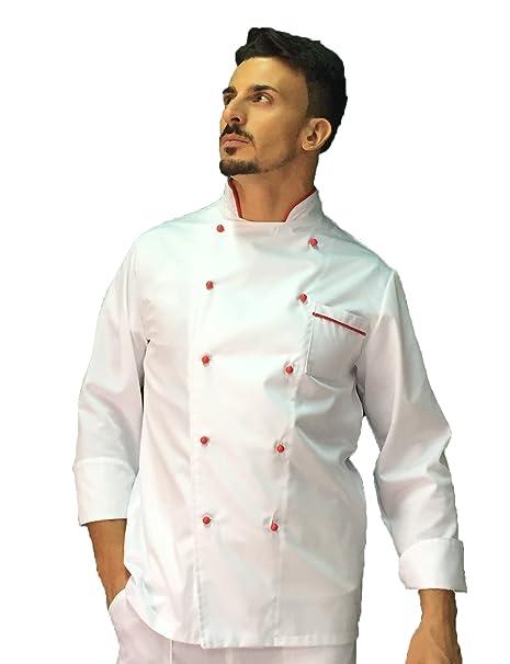 tessile astorino giacca cuoco basic bianca con profili rossi b516b772827a