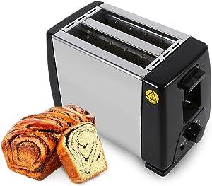 Yosoo 180mm 2-Slice Toaster Stainless Steel Bread Toaster 220V Electrical Bread Machine, Black+Sliver