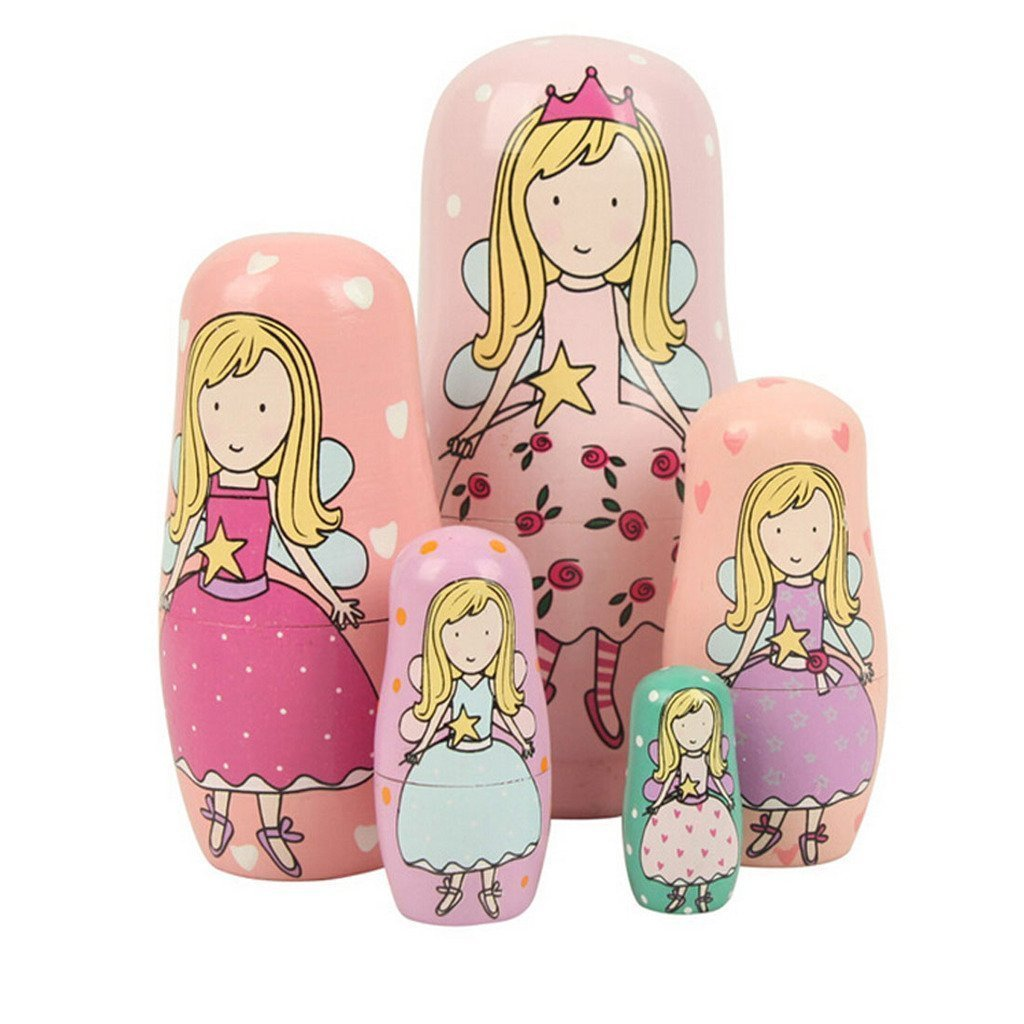 WISWIS Set of 5 Cutie Lovely Pink Angel Nesting Dolls Matryoshka Madness Russian Doll Popular Handmade Kids Girl Gifts Toy