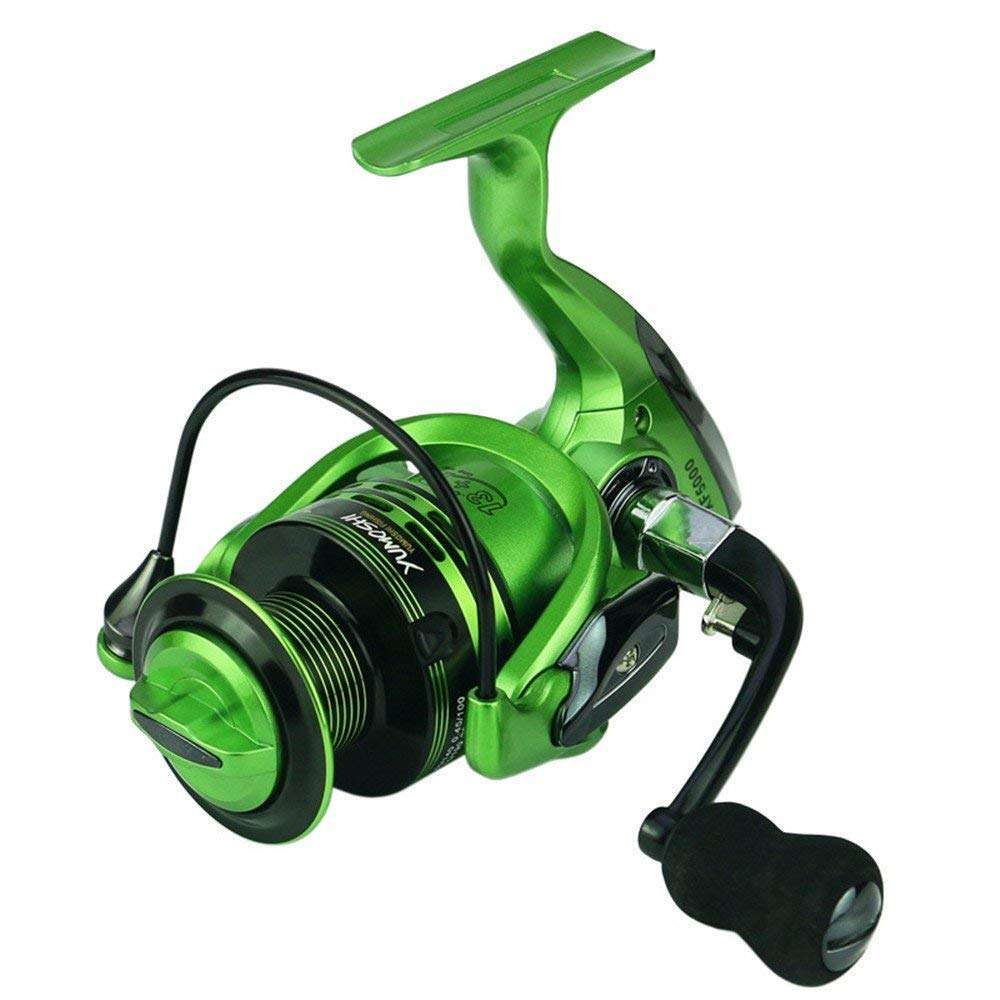 2000 Fishing reels Left Right Interchangeable Handle for Saltwater Freshwater Fishing 13+1 Green Spinning Fishing Reel with Stainless SteelBall Bearings (Size   2000)