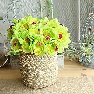 MaxFox Fake Flowers 6 Heads Orchid Floral Wedding Bouquet Bridal Hydrangea Arrangement Centerpieces in Vase for Exquisite Decor 13
