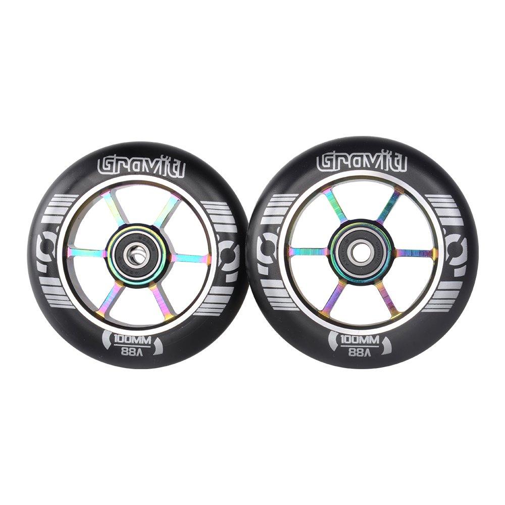 GRAVITI One Pair 100mm Pro Stunt Scooter Wheels with ABEC-9 Bearings CNC Metal Core (2pcs) (black pu rainbow core)