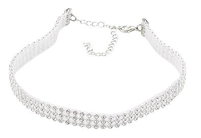 1a2d440011 DZG Rhinestone Choker Necklace Bridal Wedding Jewelry