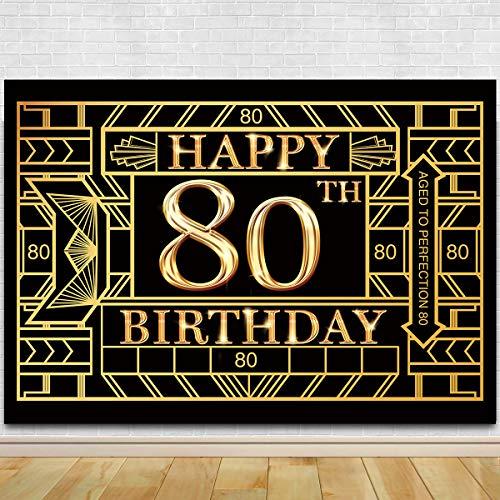 Great Gatsby Birthday (80th Birthday Photography Backdrop - Great Gatsby Eighty Birthday Photography Background - 80th Birthday Black Gold Party)