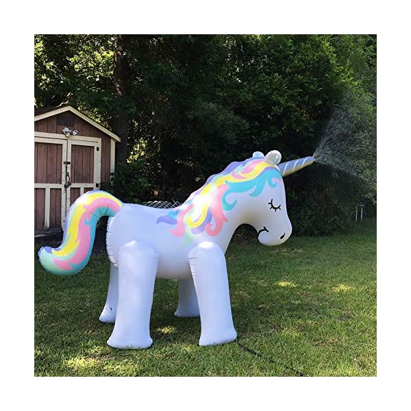 LANGXUN Ginormous Inflatable Unicorn Yard Sprinkler Toy for Kids, Perfect for Unicorn Party Supplies & Outdoor Summer Sprays Water Toys for Toddlers 7
