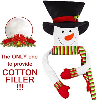 HelaJoy Snowman Christmas Tree Toppers - with Free Cotton Stuffing Snowman Tree Topper Treetops, Large Snowman Christmas Tree Ornaments for Home Décor, Great Tree Topper Ideas for Ornamental Trees