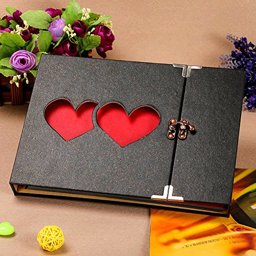 Handmade Scrapbook Albums (Longpro Vintage Double Heart Photo Album with Lock, 50 Pages Hand Made DIY Scrapbook Memory Book, Anniversary Photo Album, Wedding Record Album, Guestbook)