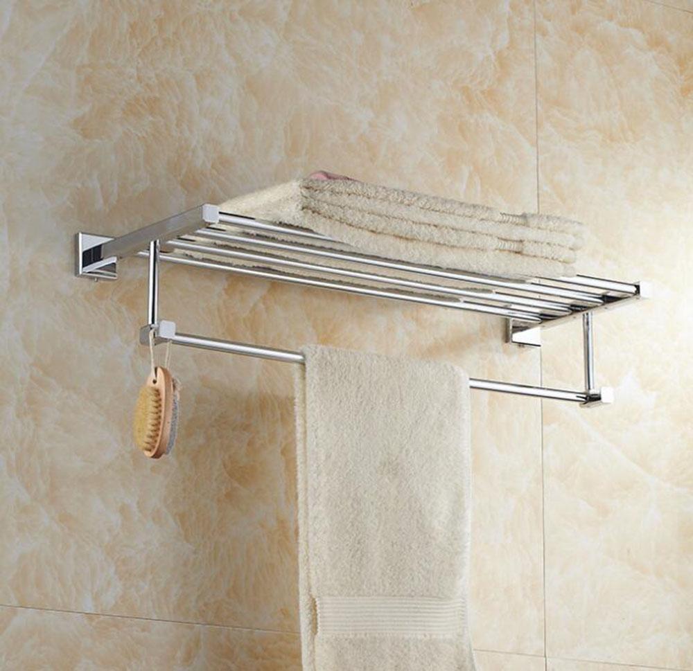 YUSHI Moderne Wandmontierte quadratische Kupfer Regal Handtuchhalter Chrom überzogen mit Haken für Hotel Badezimmer Waschraum Bad Zubehör, 60cm B07M71LDWX Handtuchhalter & -stangen