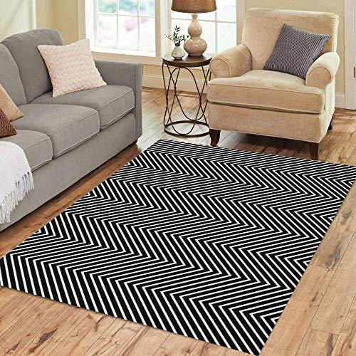 Semtomn Area Rug 2' X 3' Zag Zigzag Lines Jagged Stripes Pattern Wavy Linear Chevrons Home Decor Collection Floor Rugs Carpet for Living Room Bedroom Dining Room
