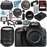 Nikon D5600 DSLR Camera (Body Only) (Black) 1575 AF-S DX 18-140mm f/3.5-5.6G ED VR Lens 221367mm 3 Piece Filter Kit + 256GB SDXC Card + Professional 160 LED Video Light Studio Series Bundle