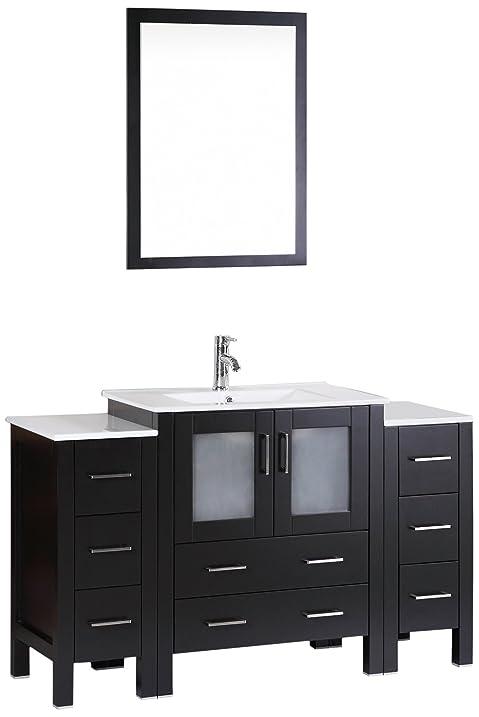 Bosconi Bathroom Vanities 54u0026quot; Classic Single Vanity With Integrated  Rectangular Sink, Countertop, Center